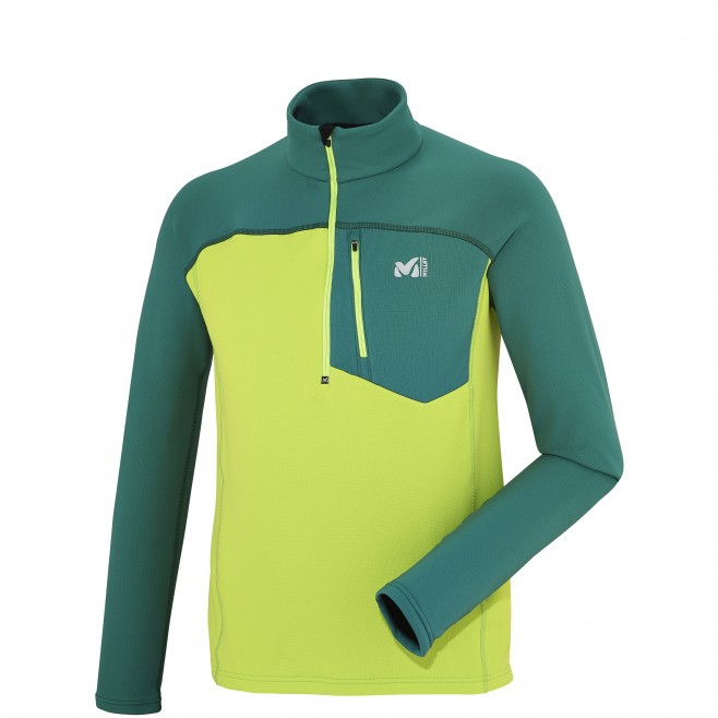 men's green trekking fleece TECHNOSTRETCH ZIP Millet