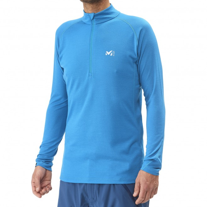 men's blue mountaineering thermal underwear C WOOL BLEND 200 ZIP LS Millet 2