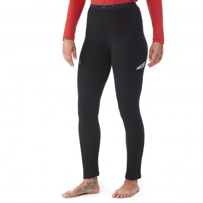 women's black mountaineering thermal underwear LD C WOOL BLEND 150 TIGHT Millet 2