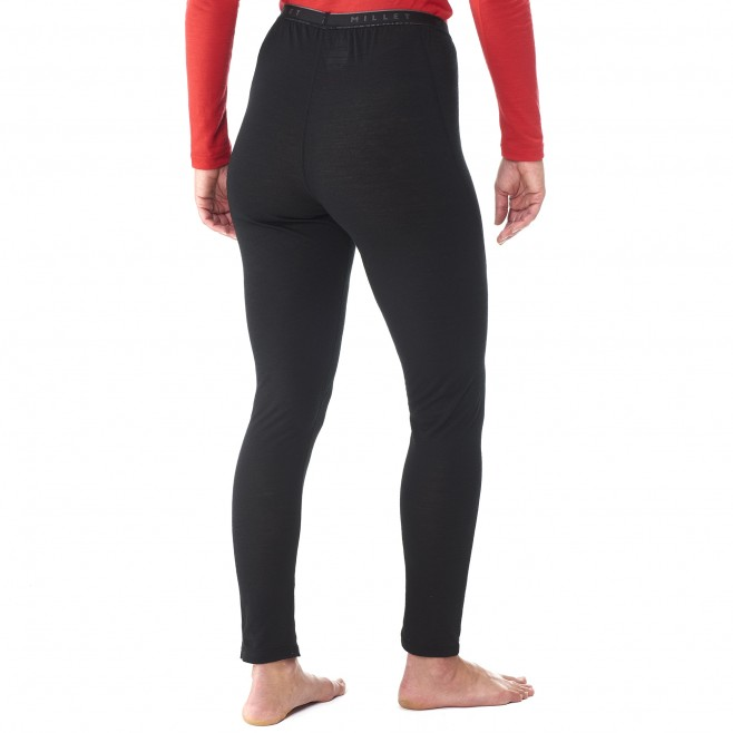 women's black mountaineering thermal underwear LD C WOOL BLEND 150 TIGHT Millet 3