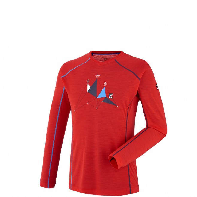 Mountaineering - Men's t-shirt - Red TRILOGY WOOL TS LS Millet