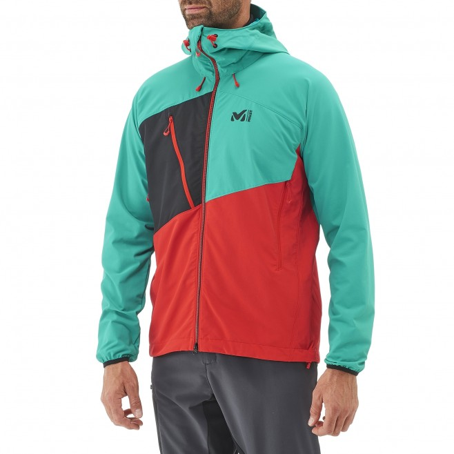 Mountaineering - Men's jacket - Red ELEVATION CORDURA HOODIE Millet 2