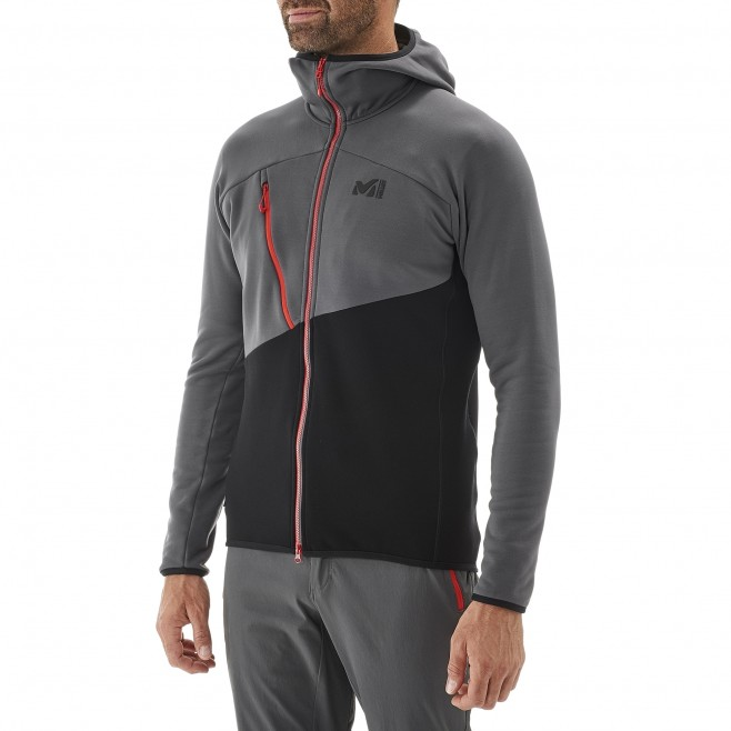 Men's fleece jacket - mountaineering - black ELEVATION POWER HOODIE Millet 2