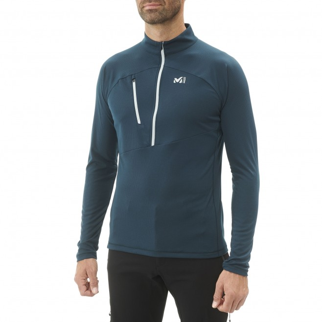 Men's long sleeves t-shirt - mountaineering - navy-blue ELEVATION ZIP LS Millet 3