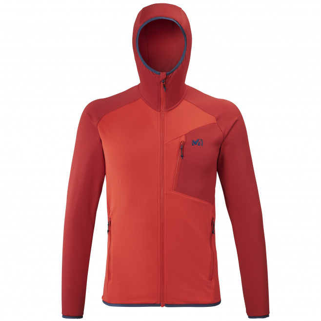 Men's lightweight fleecejacket - red SENECA TECNO HOODIE M Millet