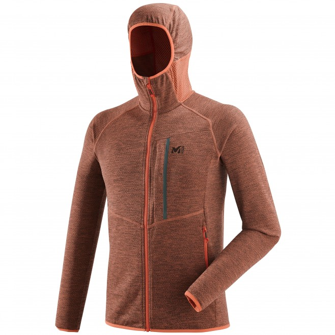 Men's lightweight fleecejacket - hiking - orange LOKKA HOODIE Millet