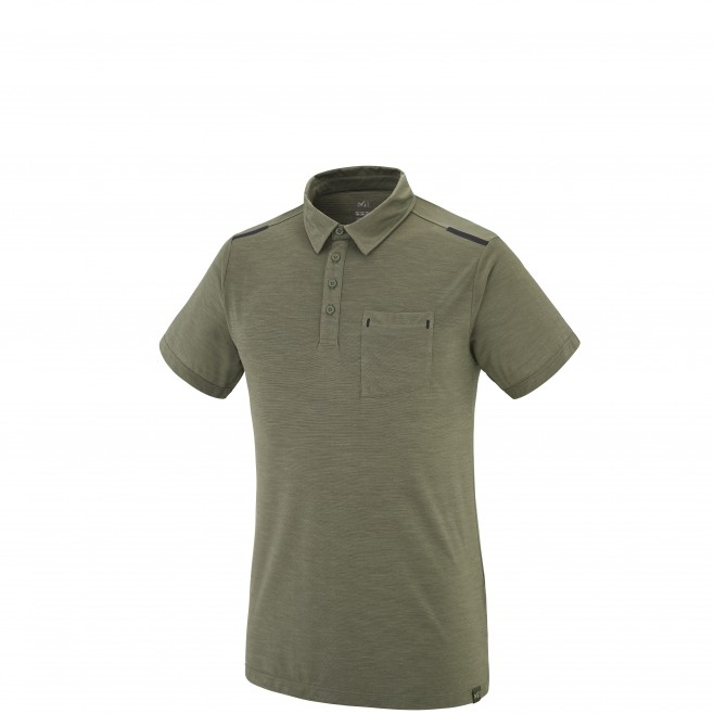 Trekking - Men's t-shirt - Khaki IMJA WOOL POLO Millet
