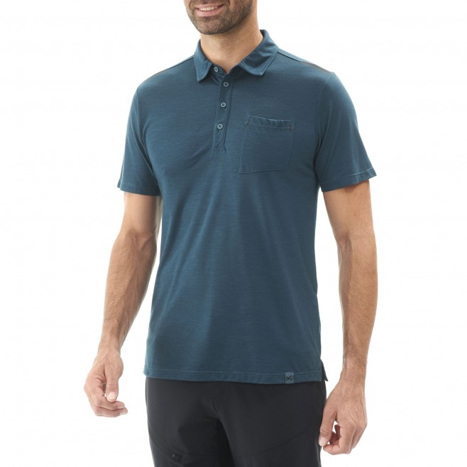 Men's polo shirt - hiking - navy-blue IMJA WOOL POLO Millet 2
