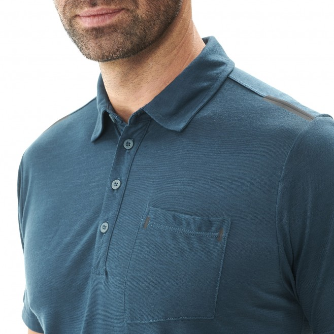 Men's polo shirt - hiking - navy-blue IMJA WOOL POLO Millet 4