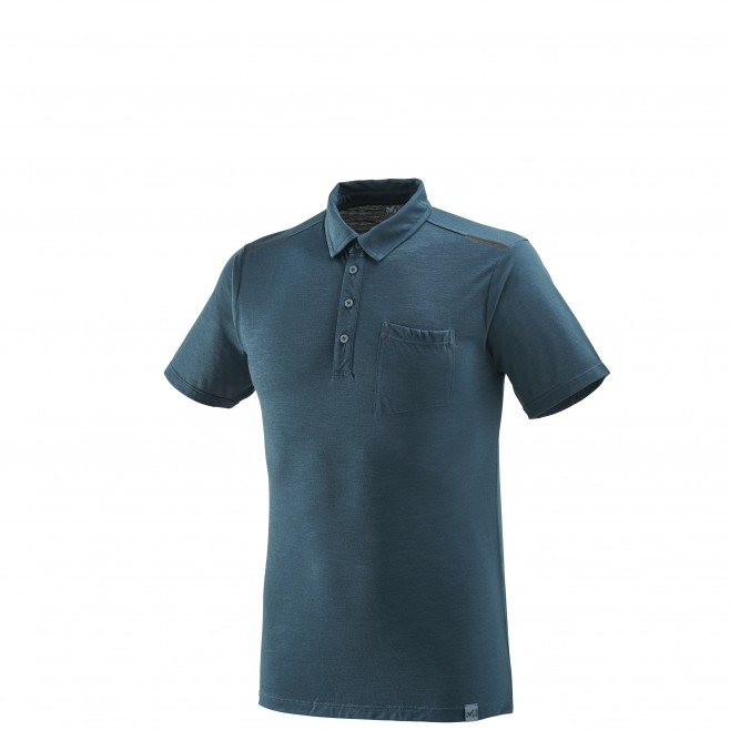 Men's polo shirt - hiking - navy-blue IMJA WOOL POLO Millet
