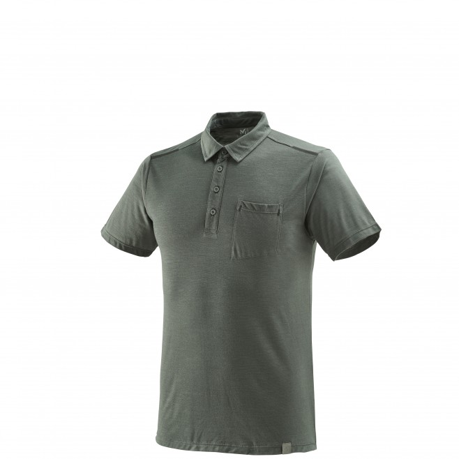 Men's polo shirt - hiking - grey IMJA WOOL POLO Millet