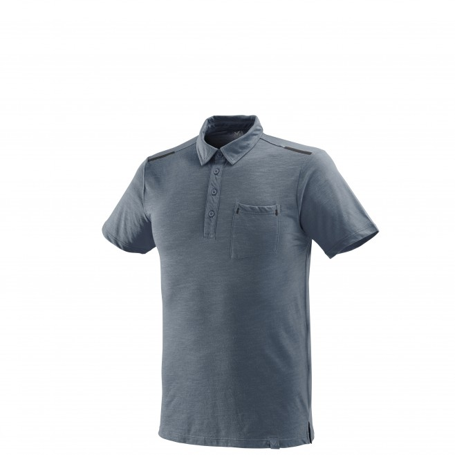 Men's polo shirt - hiking - blue IMJA WOOL POLO Millet