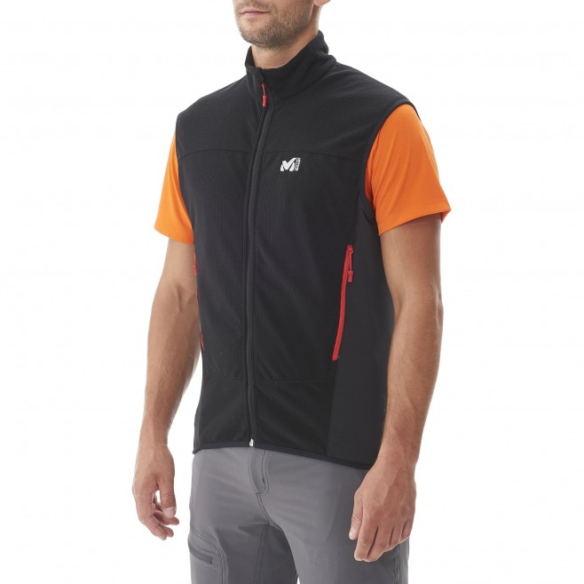 Trekking - Men's fleece jacket - Black VECTOR GRID VEST Millet 2