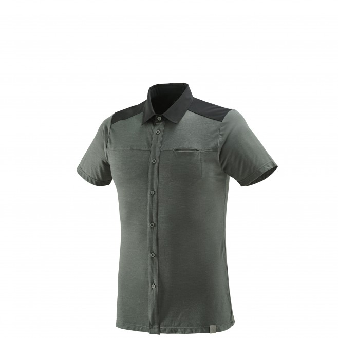 Men's short sleeves shirt - hiking - grey CLOUD PEAK WOOL SHIRT Millet