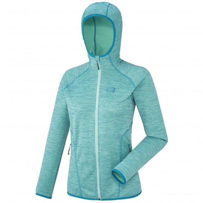Trekking - Women's fleece jacket - Blue LD TWEEDY MOUNTAIN HOODIE Millet