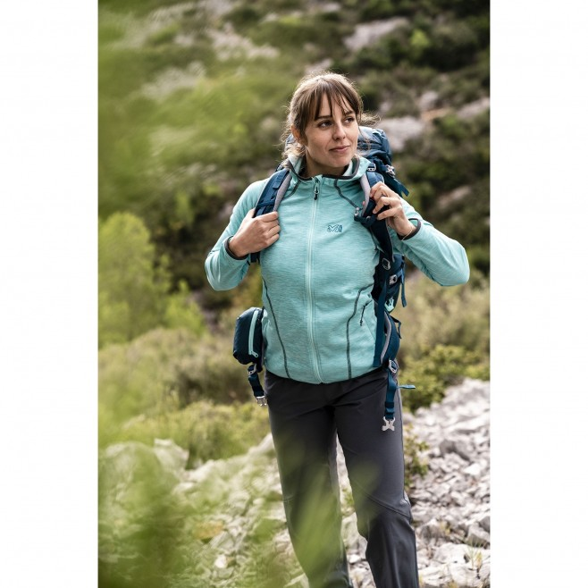 Women's lightweight fleecejacket - hiking - turquoise LD TWEEDY MOUNTAIN HOODIE Millet 2