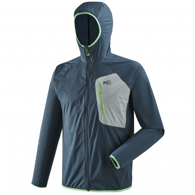 Men's lightweight jacket - trail running - navy-blue LTK AIRSTRETCH HOODIE Millet