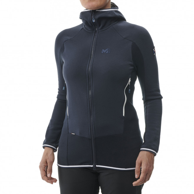 Women's warm fleece jacket - mountaineering - navy-blue LD TRILOGY DUAL WOOL HOODIE Millet 2
