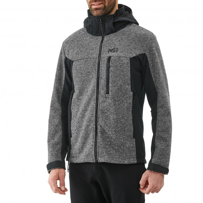 Men's softshell jacket - hiking - grey PAYUN HOODIE Millet 2