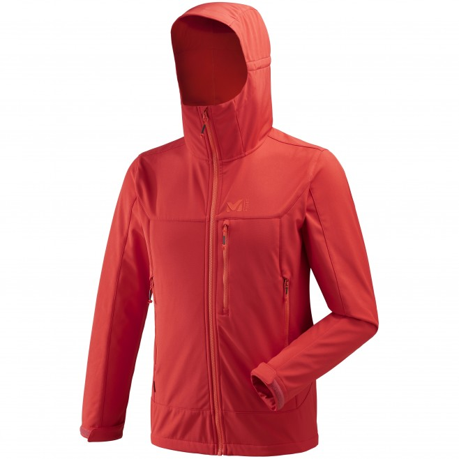 Men's softshell jacket - hiking - red TRACK HOODIE Millet