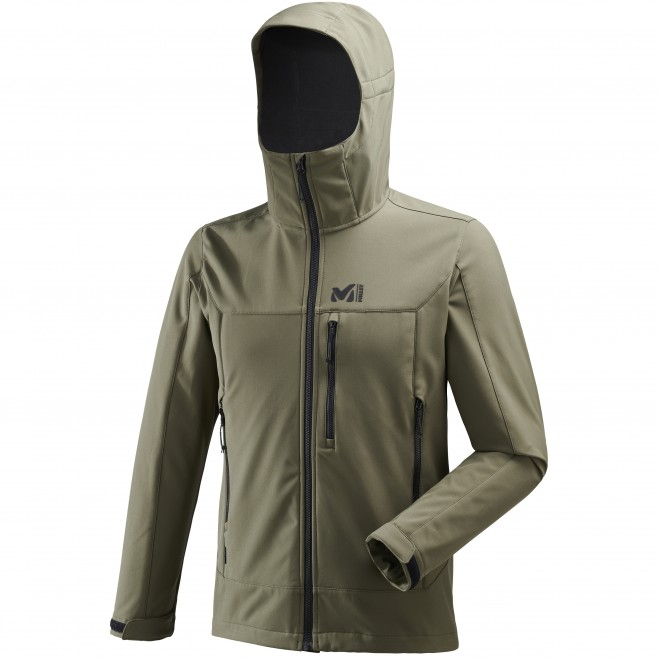 Men's softshell jacket - hiking - khaki TRACK HOODIE Millet
