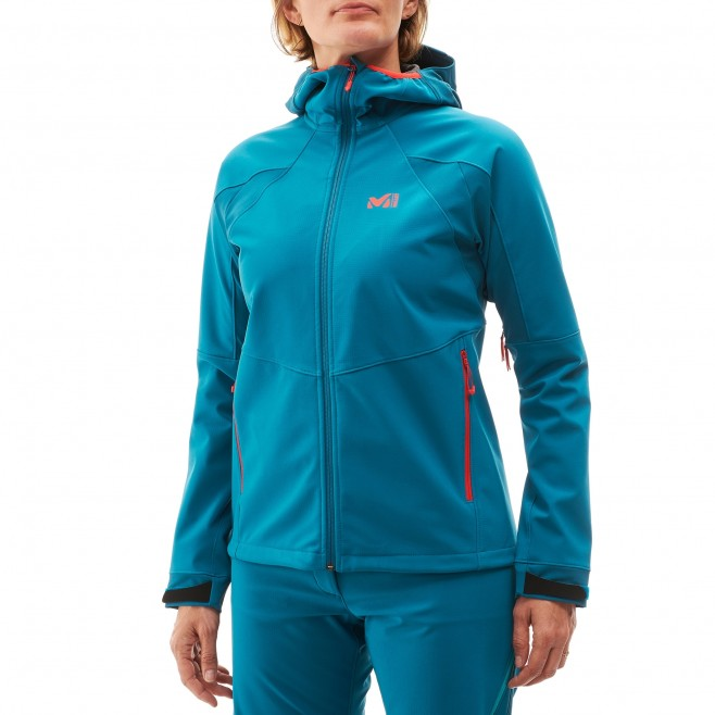Women's softshell jacket - blue TOURING SHIELD HOODIE W Millet 2