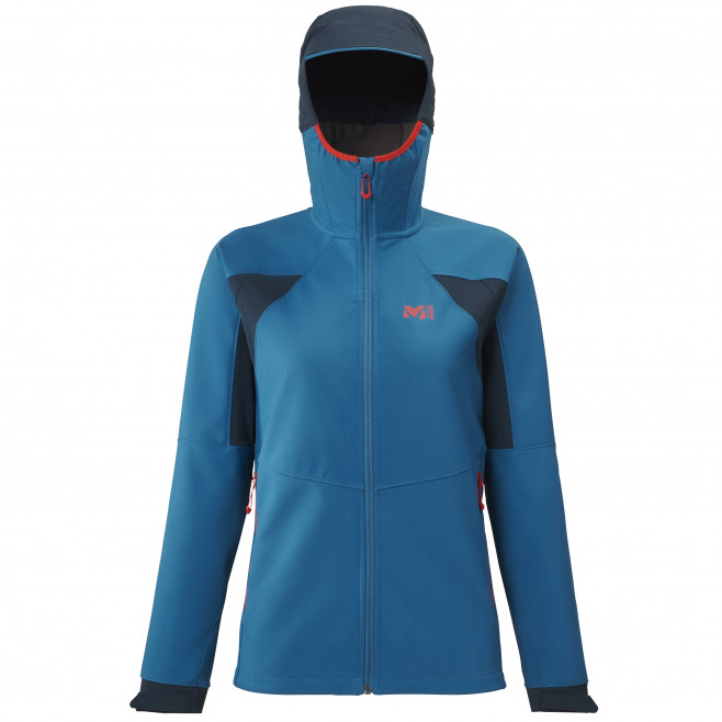 Women's softshell jacket - blue TOURING SHIELD HOODIE W Millet