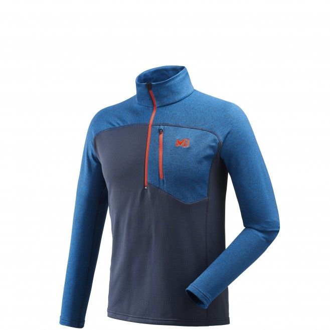 Men's lightweight fleece jacket - ski - blue TECHNOSTRETCH ZIP Millet