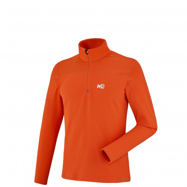 Men's lightweight fleece jacket - ski - orange TECHNOSTRETCH PO Millet