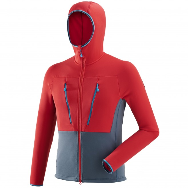 Men's very warm fleecejacket - alpinism - red TRILOGY ULTIMATE POWER HOODIE Millet