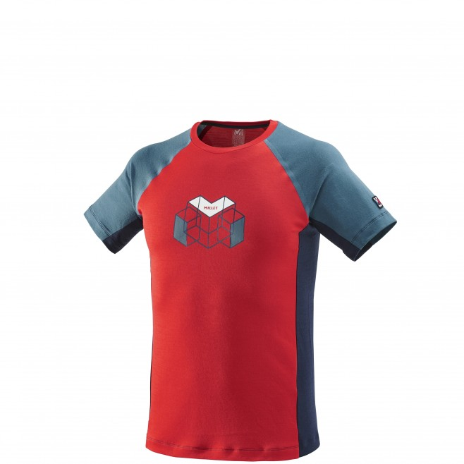 Men's short sleeves t-shirt - mountaineering - red TRILOGY WOOL HEXA TS SS Millet