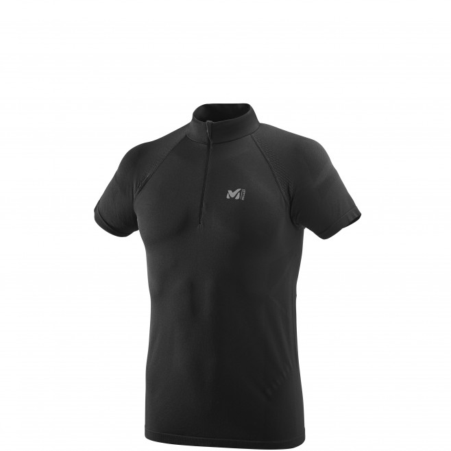 Men's short sleeves t-shirt - trail running - black LTK SEAMLESS LIGHT ZIP SS Millet