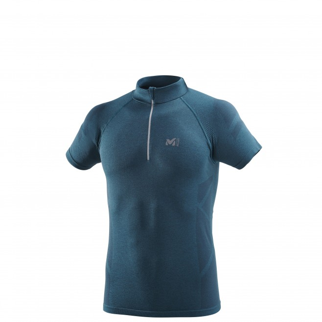 Men's short sleeves t-shirt - trail running - navy-blue LTK SEAMLESS LIGHT ZIP SS Millet