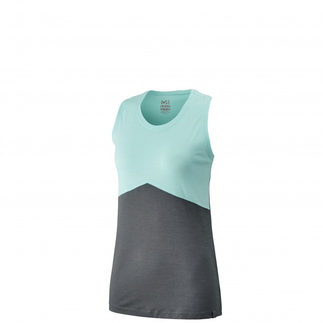 Women's tank top - hiking - turquoise LD VANDA WOOL TANK Millet