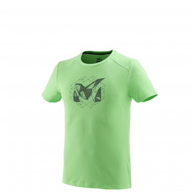Men's short sleeves t-shirt - mountaineering - green M LOGO 2 TS SS Millet