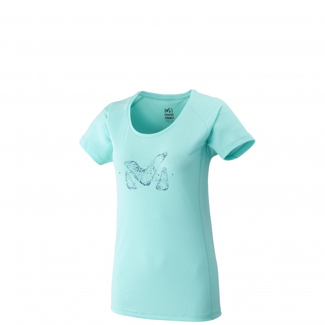 Women's short sleeves t-shirt - mountaineering - turquoise LD M LOGO TS SS Millet