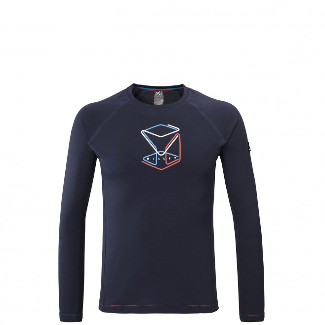Men's long sleeves tee-shirt - navy-blue TRILOGY WOOL CUBE TS LS M Millet