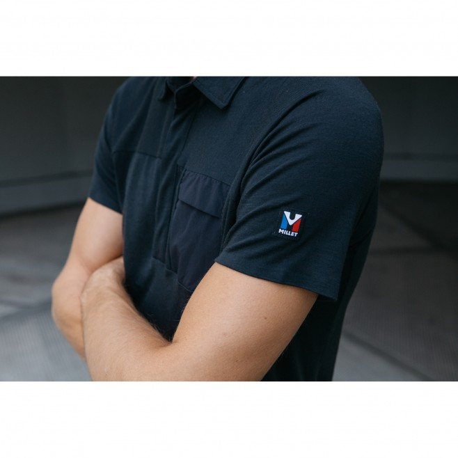 Men's polo - navy-blue TRILOGY SIGNATURE WOOL POLO M Millet 3