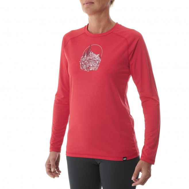 Women's  long sleeves tee-shirt - red TRACK FINDER TS LS W Millet 2