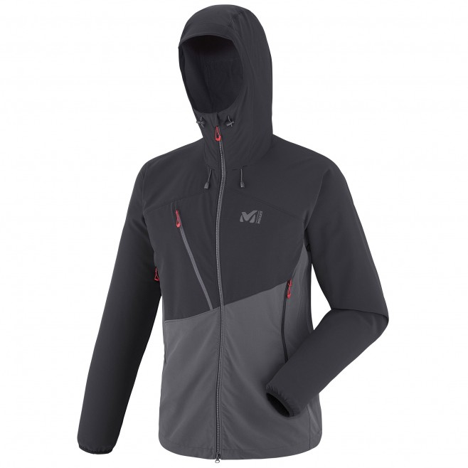 Men's softshell jacket - mountaineering - grey ELEVATION CORDURA HOODIE Millet