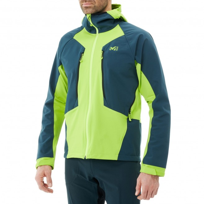 Men's softshell jacket - green TOURING SHIELD EXTREME HOODIE M Millet 2