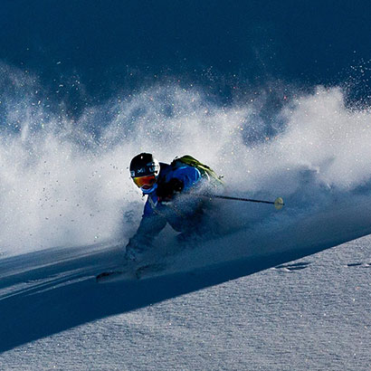 Robin Kaleta in deep powder!